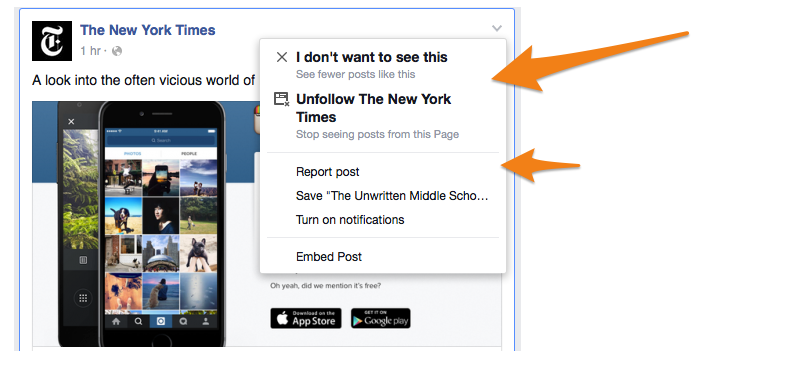 Hide Post / Spam Reporting on Facebook